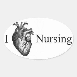 I oficio de enfermera del corazón pegatina ovalada