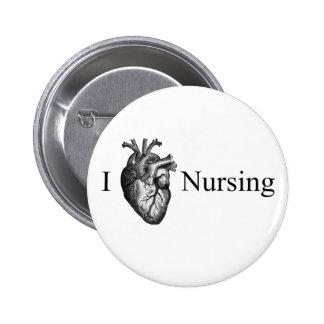 I oficio de enfermera del corazón pin redondo de 2 pulgadas