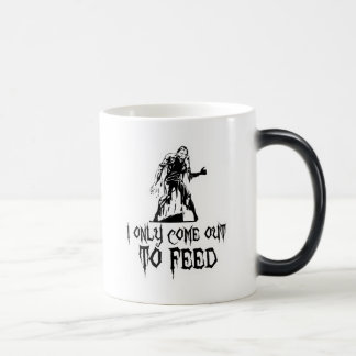 I Only Come Out To Feed Retro Zombie 11 Oz Magic Heat Color-Changing Coffee Mug