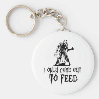 I Only Come Out To Feed Retro Zombie Basic Round Button Keychain