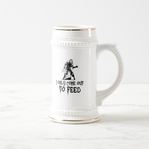 I Only Come Out To Feed Retro Zombie Coffee Mugs