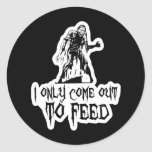 I Only Come Out To Feed Retro Zombie Classic Round Sticker