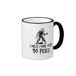 I Only Come Out To Feed Zombie Ringer Coffee Mug