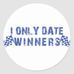 I Only Date Winners Classic Round Sticker