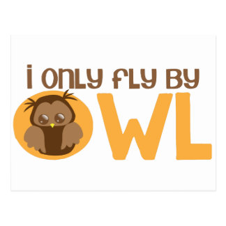 I only fly by owl postcard