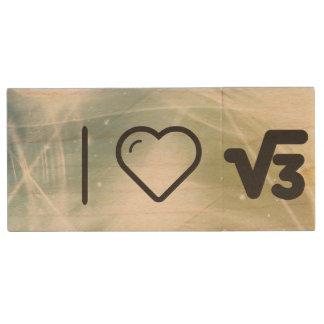 I operaciones matemáticas del corazón memoria USB 2.0 de madera