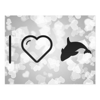I orca Fishs del corazón Postal