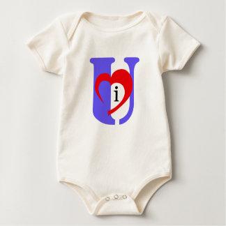 I orgánico infantil del corazón U (azul de la Mamelucos De Bebé