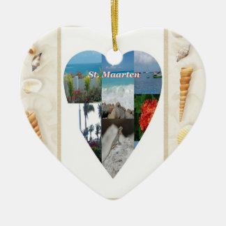 I ornamento del St. Maarten del corazón Adorno Navideño De Cerámica En Forma De Corazón