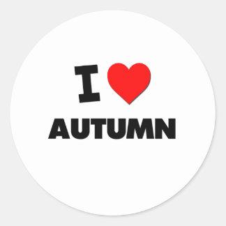 I otoño del corazón pegatina redonda