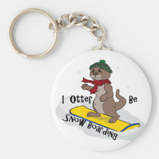 I Otter Be Snow Boarding Key Chain