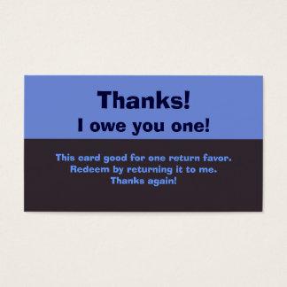I Owe You A Favor Business Card