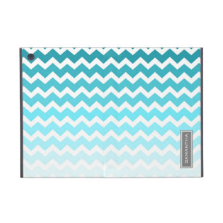i Pad  Blue Ombre Chevron Custom Name Cover For iPad Mini