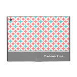 i Pad  Coral Teal Grey Pattern Custom Name Covers For iPad Mini