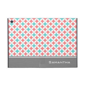 i Pad  Coral Teal Grey Pattern Custom Name iPad Mini Cover