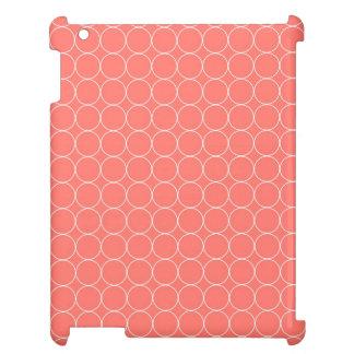 i Pad Coral White Circles Pattern iPad Cases