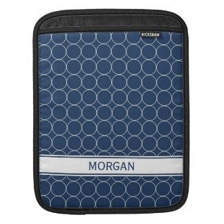 i Pad Custom Name Blue White Circles Pattern Sleeves For iPads