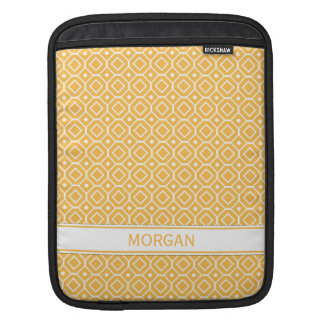 i Pad Custom Name Orange Geometric Pattern Sleeves For iPads