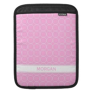 i Pad Custom Name Pink White Circles Pattern iPad Sleeves