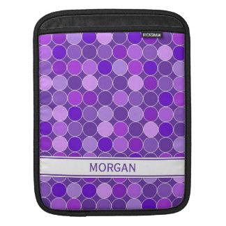 i Pad Custom Name Purple Circles Pattern iPad Sleeves