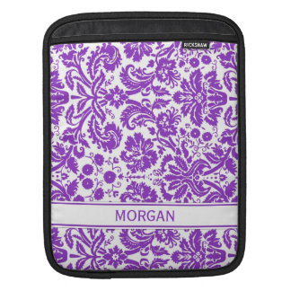 i Pad Custom Name Purple Floral Damask Pattern Sleeve For iPads