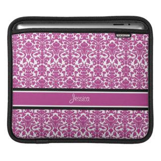 i Pad Hot Pink Damask Custom Name Sleeves For iPads