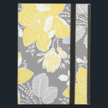 """i Pad Lemon Gray Floral Pattern iPad Air Case<br><div class=""""desc"""">i pad case with elegant bright canary yellow,  grey and white classic vintage flowers pattern. Personalize this case with your own name or other custom text to create a truly unique case. Contact us to request a color change.</div>"""