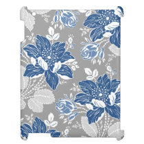 i Pad Mini Blue Gray Floral Pattern Case For The iPad 2 3 4