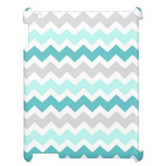 i Pad Mini Grey Teal Chevrons Pattern iPad Cases