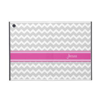 i Pad Mini Hot Pink Gray Chevron Custom Name iPad Mini Cover