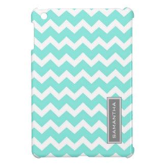 i Pad Mini Teal Chevron Custom Name iPad Mini Covers