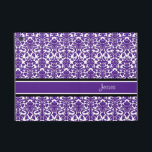 "i Pad Mini Violet Damask Custom Name iPad Mini Case<br><div class=""desc"">i Pad mini case with fun and modern plum dark purple,  black and white floral damask vintage pattern. Personalize this case with your own name or other custom text to create a truly unique case. Contact us to request a color change.</div>"