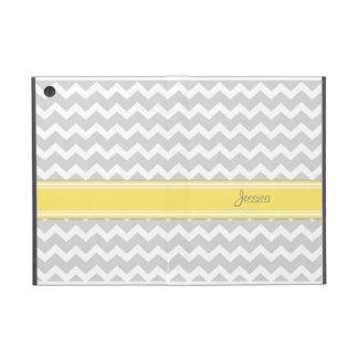 i Pad Mini Yellow Gray Chevron Custom Name iPad Mini Covers