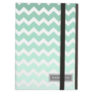 i Pad Mint Ombre Chevron Custom Name iPad Case