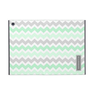 i Pad  Mint Ombre Chevron Custom Name Covers For iPad Mini