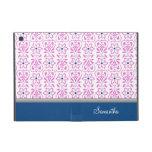 i Pad  Pink Blue Damask Pattern Custom Name iPad Mini Case