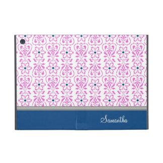 i Pad  Pink Blue Damask Pattern Custom Name iPad Mini Cases