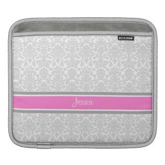 i Pad Pink Damask Custom Name iPad Sleeve