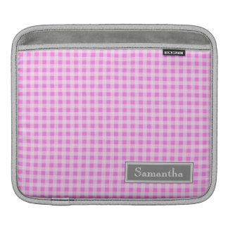 i Pad Pink Gingham Custom Name iPad Sleeve