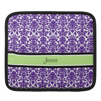 i Pad Purple Damask Custom Name Sleeve For iPads