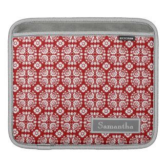 i Pad Red Damask Custom Name Sleeve For iPads