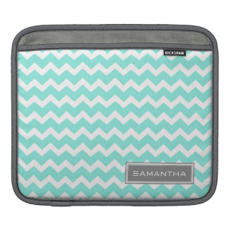i Pad Teal Chevron Custom Name Sleeve For iPads