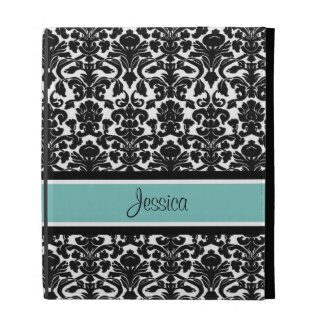i Pad Teal Damask Custom Name iPad Folio Covers