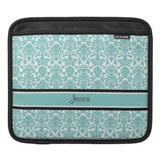 i Pad Teal Damask Custom Name iPad Sleeve