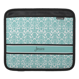 i Pad Teal Damask Custom Name Sleeves For iPads
