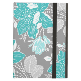 i Pad Teal Gray Floral Pattern Cover For iPad Air