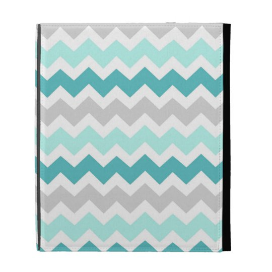 i Pad Teal Grey Chevrons Pattern iPad Case