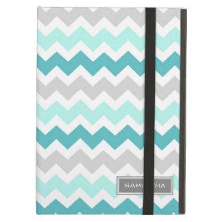 i Pad Teal Ombre Chevron Custom Name iPad Covers