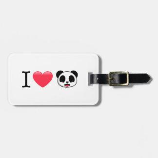 I panda del corazón en blanco etiqueta de maleta