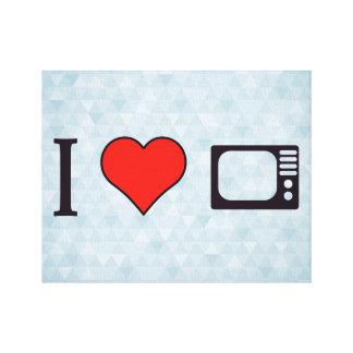 I pantallas retras de la televisión del corazón impresión en lienzo